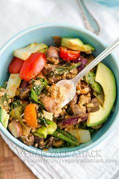 Warm Smoky Tempeh Salad #vegan