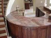dramatically curved kitchen island