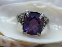 Sterling Silver Amethyst Ring  5 Carat Solitaire Size 5