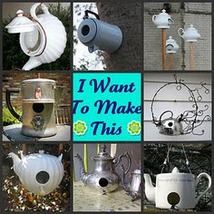 For the Birds ~ 16 coffee pots and teapots repurposed into bird houses.