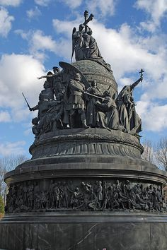 The Monument to the Millennium of Russia, Veliky Novgorod, Russia. Erected in 1862 to celebrate the millennium of Rurik's arrival to Novgorod, an event traditionally taken as a starting point of Russian history.