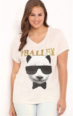 Deb Shops Plus Size Short Sleeve Tee with Baller Panda $10.00