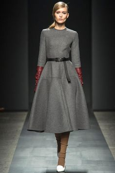 Loving the full skirt on dress and the long leather gloves are a nice touch -- Port 1961 Fall 2013 RTW