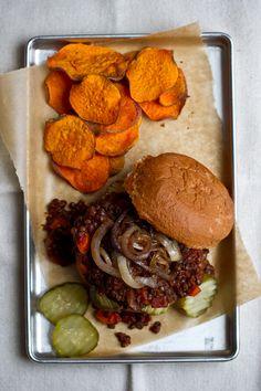 dinner, vegetarian lentil, sweet potato chips, lentil sloppi, snack recipes