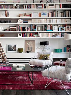 books, interior, living rooms, rug, paris apartments, wall shelving, shelves, bookcas, librari