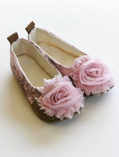 Ballet Flats, Pink Toile de Joey with shabby chic rose