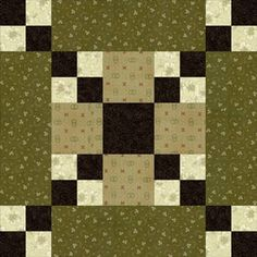 """Five Patch Chain Quilt Block Pattern - 10""""//seeing in my collection of blacks and cheddar fabrics"""
