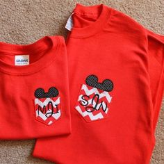 So precious! Disney Mickey Pocket Monogrammed TShirt. $28.00, via Etsy.