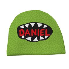 Personalized Big Mouth Monster Kids Hat Green available at psychobabyonline.com