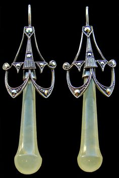 ART DECO  Earrings   Silver Chalcedony Marcasite  Actually more transitional with elements of Art Nouveau.