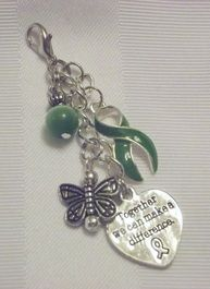 Green awareness layered purse pull with butterfly and together we can make a difference purse charm!