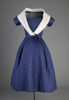 Christian Dior dress, navy blue with white wrap, 1956
