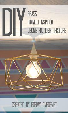 Pin It! DIY Brass Himmeli Inspired Geometric Light Fixture by @Debbie Arruda Fortner My Love Of for TatertotsandJello