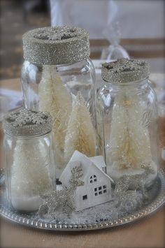 Mason Jar Centerpieces Winter Wonderland Affaire, via Flickr.