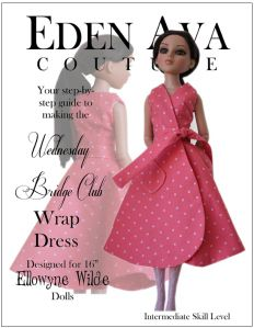 Wednesday Bridge Club Dress Sewing Pattern for Ellowyne Wilde Dolls club dress, bridg club, sew pattern, sewing patterns