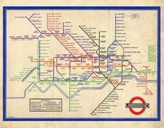Vintage London Map - The Underground WWII Subway Map - Kitsch 1940s British Art Print - Tube Map - Colourful Sepia Whimsical Home Decor