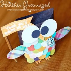 Owl made out of the Standing Pillow Box! CUTE! Here is the template: http://www.thedigichick.com/shop/Standing-Pillow-Box-Template-Set-and-Cutting-Files.html