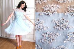 Vintage 60's Powder Blue Chiffon Dress / 1960's Beaded Cocktail Dress / Illusion Neckline. $142.00, via Etsy.