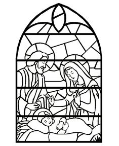 Stained Glass Nativity Scene - Christmas Bible Coloring Page... Print on projector paper and let kids color with permanent markers then hang on window. CUTE!