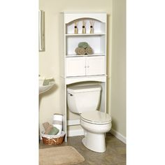 White Wood Spacesaver with Cabinet and Open Storage
