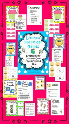 Welcome To Educating Everyone 4 Life! Here is a preview of my file folder games to support literacy! Enjoy! #Literacy Centers, # Common Core Standards, # File Folder Games, # Standardized Test Practice