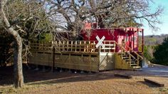 For the railway enthusiast in your life, enjoy a cozy stay in the Love Train Caboose at River of Love Cabins LLC in southern Oklahoma.