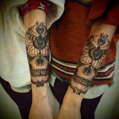 #Tattoo by Guy le Tattooer / #b+w #skull #moth