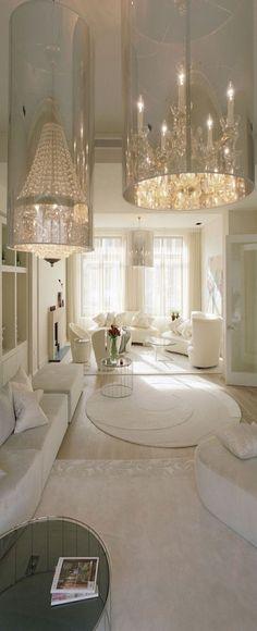 crystals, interior design, crystal chandeliers, white spaces, interiors, white rooms, interiordesign, hous, homes