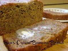 Sour Cream Banana Bread recip idea, sour cream banana bread, food, breakfast, bananas, breads, muffin, dessert