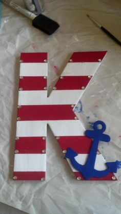 little crafts, crafts for littles sorority, initial crafts, anchor craft, wooden letters, big little, big and little sorority crafts, baby boy nurseries, craft rooms