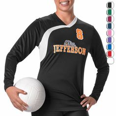 Alleson Swoosh Panel Long Sleeve Volleyball Jersey at Volleyball.Com