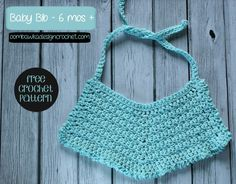 Free Pattern Baby Bib 6 months+ size! #freepattern #crochet  Easily adjustable to larger and smaller sizes!