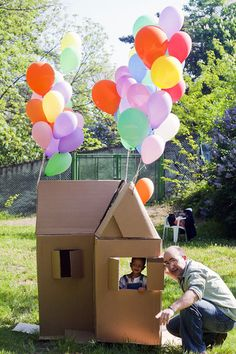 Play house made of carton boxes. The kids can even draw on them. Nice idea for a kid party (make a really large one - get paint clothes, let them paint and play and have a picnic inside the house)!