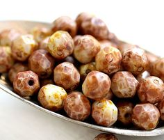 Brown picasso Fire polished czech beads rustic glass by MayaHoney