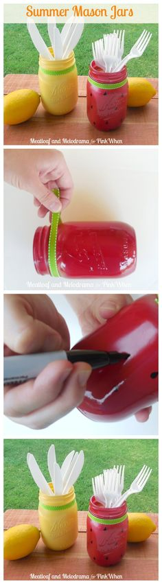 Super cute Summer Mason jars, Love the watermelon!