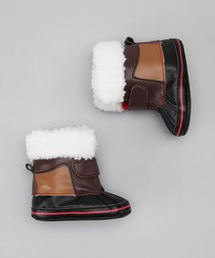 Take a look at this Black Fur Snow Boot by Stepping Stones on @zulily today!