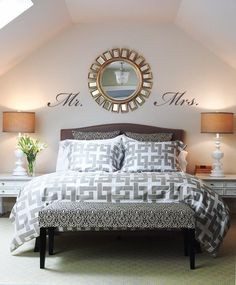 mirror, headboard, bench, pattern, lamp, master bedrooms, guest rooms, style at home, vinyl wall decals