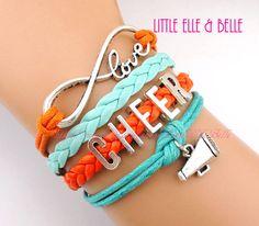 Infinity Wish Charm Bracelet, Love, Infinity, Megaphone, Cheer, Cheerleading, Cheerleader, Orange, Turquoise, Christmas Gift,Friendship Gift...