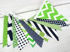 Bunting Banner Fabric Flags, Photography Prop, Nursery Decor, Birthday Decoration - Navy Blue, Lime Green, Chevron - Ready to Ship