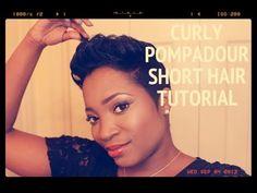 ▶ Curly Pompadour Short Hair Tutorial - YouTube