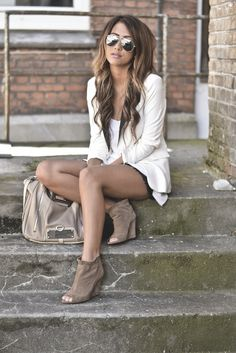 White blazer, layered with short and brown suede booties
