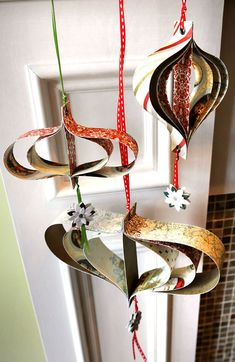 recycle cards to make ornaments
