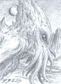 CTHULHU NO 29 original sci fi art, ACEO, lovecraft, cthulhu mythos, horror