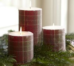 Beaded Plaid Pillar Candles #potterybarn