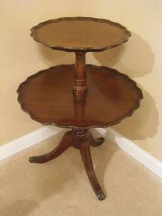 Antique Pie Crust 2 Tier Table - $100 (Canton)