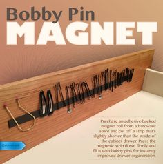 Keep track of elusive bobby pins with an in-drawer magnetic holder. #SaveMoney #DIYHome #HouseholdTips #CleverSolution #TensionRod