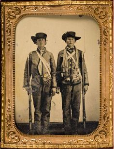 ca. 1861-62, [tintype portrait of two soldiers, on the left Private Emzy Taylor  Confederate from Georgetown, Texas]