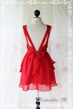 Deep-v little red dress. Cute party dress!