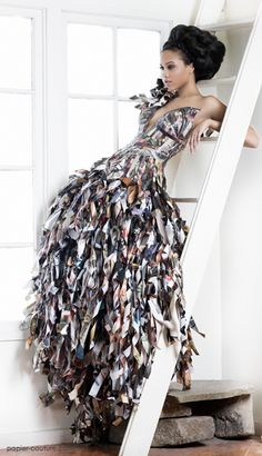 Amazing paper dress.  Made from 12 Vogue magazines. By Lia Griffith.