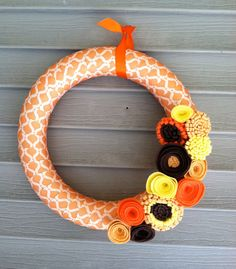 Orange Pattered Ribbon Wreath with Felt Flowers -  Fall Wreath - Thanksgiving Wreath - Ribbon Wreath - Kitchen Decor. $42.00, via Etsy.